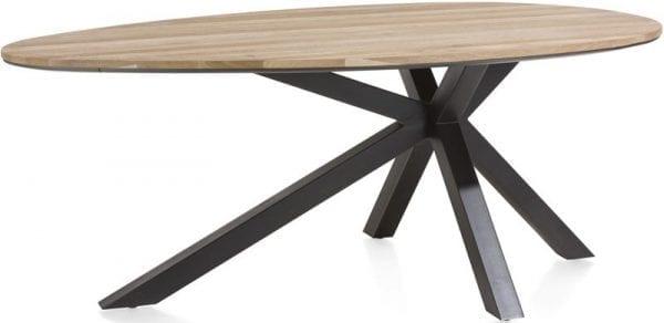 Ovale tafel Colombo uit de Xooon collectie - moderne eetkamertafel met kruispoot in metaal