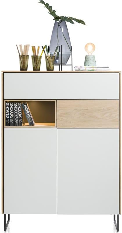 Darwin highboard 2-deuren + 2-laden + 1-niche - 100 cm (+ LED) ombouw: eiken fineer naturel