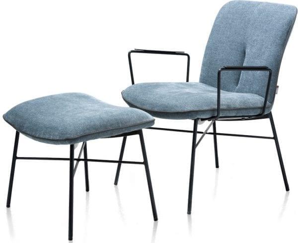 Quint lounge met arm - stof Enova Teal XOOON Lowik Wonen & Slapen