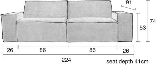 Bank James 2-Seater Rib Cool Grey Web modern design uit de Zuiver meubel collectie - 3200159