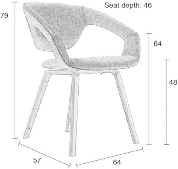 Armstoel Flexback Natural/Dark Grey modern design uit de Zuiver meubel collectie - 1200096