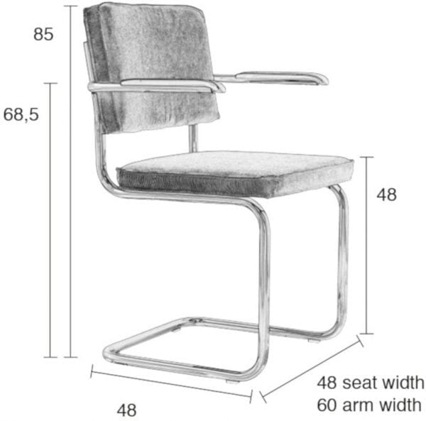 Armstoel Ridge Rib Black 7A modern design uit de Zuiver meubel collectie - 1006050