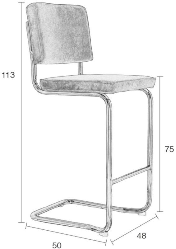 Barkruk Ridge Kink Rib Grey 6A modern design uit de Zuiver meubel collectie - 1500005