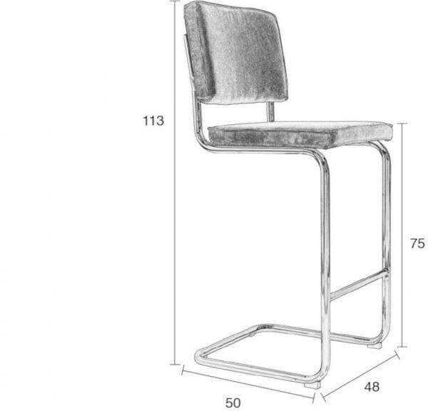 Barkruk Ridge Rib Orange 19A modern design uit de Zuiver meubel collectie - 1500201