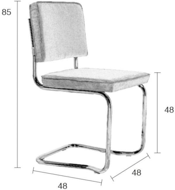 Eetkamerstoel Ridge Kink Rib Grey 6A modern design uit de Zuiver meubel collectie - 1100059