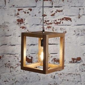 Hanglamp 1x houten frame/Massief mango naturel. 8272/16 uit de hanglampen collectie van Zijlstrakleinmeubelen & verlichting bij Löwik Meubelen