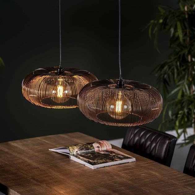 Hanglamp 2xØ43 disk wire copper twist - zwart nikkel