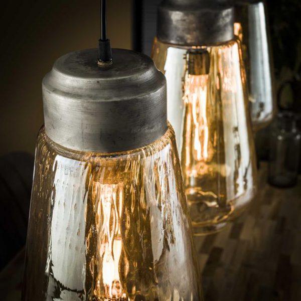 Hanglamp 3L amber glas druppel / Oud zilver. 8356/29 uit de hanglampen collectie van Zijlstrakleinmeubelen & verlichting bij Löwik Meubelen