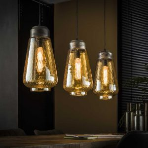 Hanglamp 3L amber glas druppel / Oud zilver. 8356/29 uit de hanglampen collectie van Bullcraft kleinmeubelen & verlichting bij Löwik Meubelen