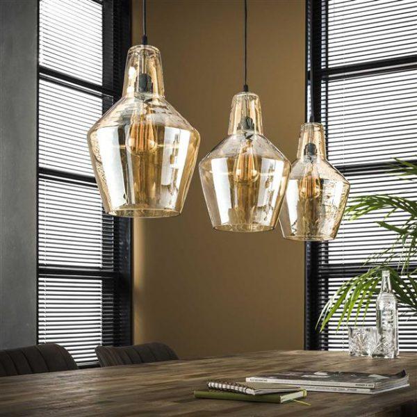 Hanglamp 3L amber glas kegel / Oud zilver. 8355/29 uit de hanglampen collectie van Zijlstrakleinmeubelen & verlichting bij Löwik Meubelen