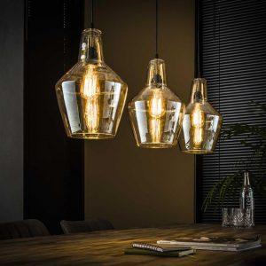 Hanglamp 3L amber glas kegel / Oud zilver. 8355/29 uit de hanglampen collectie van Bullcraft kleinmeubelen & verlichting bij Löwik Meubelen