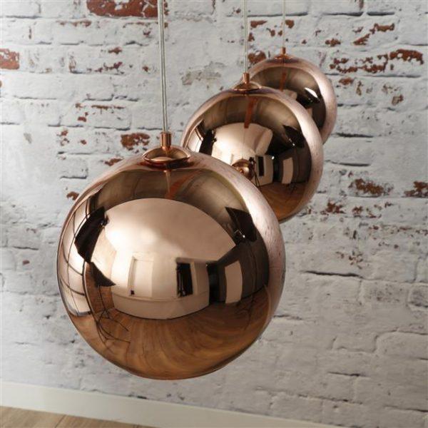 Hanglamp 3L globe / Koper. 8128/32 uit de hanglampen collectie van Zijlstrakleinmeubelen & verlichting bij Löwik Meubelen