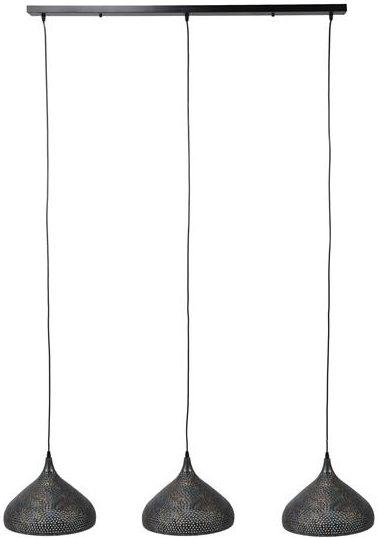 Hanglamp 3xØ32 punch trechter - zwart bruin