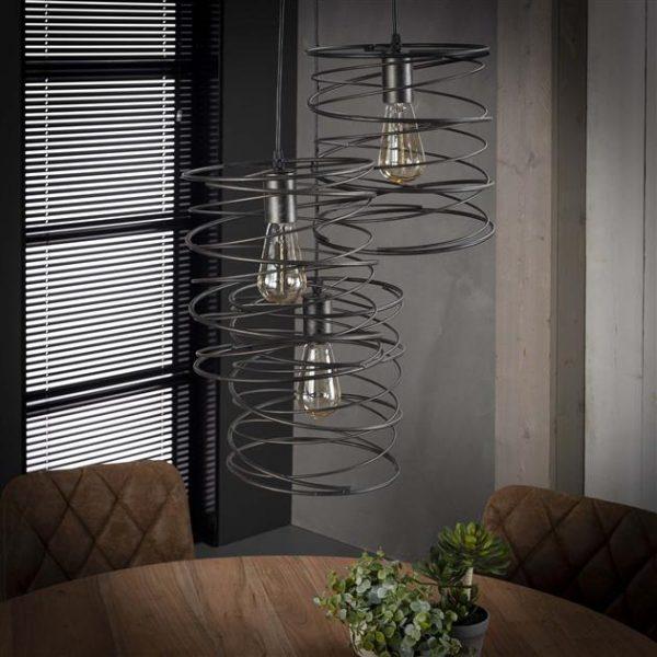 Hanglamp 3x curl getrapt / Charcoal. 7971/76 uit de hanglampen collectie van Zijlstrakleinmeubelen & verlichting bij Löwik Meubelen