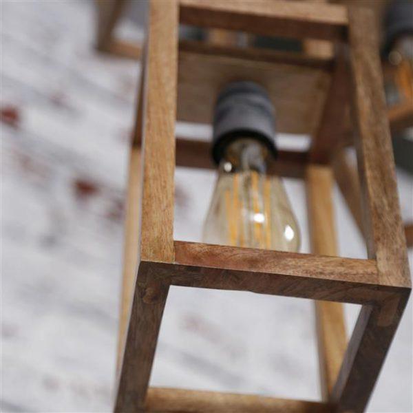 Hanglamp 3x houten frame getrapt / Massief mango naturel. 8273/16 uit de hanglampen collectie van Zijlstrakleinmeubelen & verlichting bij Löwik Meubelen