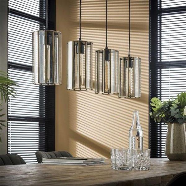 Hanglamp 4L artdeco cylinder / Brons antiek. 8285/30 uit de hanglampen collectie van Zijlstrakleinmeubelen & verlichting bij Löwik Meubelen