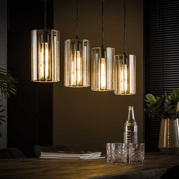 Hanglamp 4L artdeco cylinder / Brons antiek. 8285/30 uit de hanglampen collectie van Bullcraft kleinmeubelen & verlichting bij Löwik Meubelen