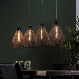 Hanglamp 4L druppel draadframe / Zwart nikkel. 8229/31Z uit de hanglampen collectie van Bullcraft kleinmeubelen & verlichting bij Löwik Meubelen