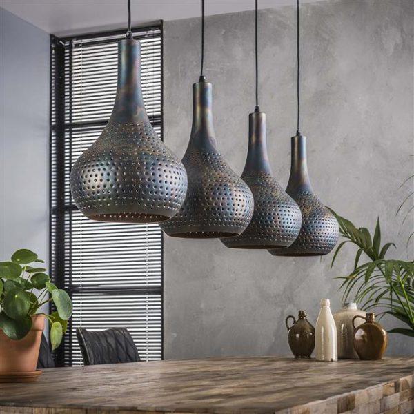 Hanglamp 4L punch kegel / Zwart bruin. 8141/56 uit de hanglampen collectie van Zijlstrakleinmeubelen & verlichting bij Löwik Meubelen