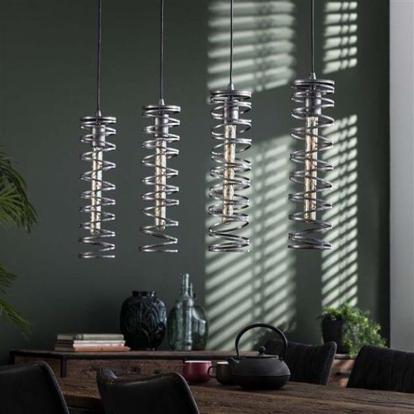 Hanglamp 4L spiral / Burned zilverkleurig. 8307/57 uit de hanglampen collectie van Zijlstrakleinmeubelen & verlichting bij Löwik Meubelen