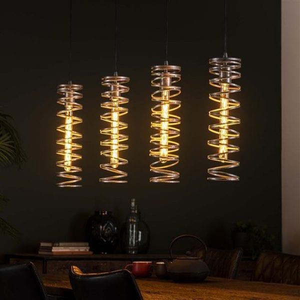 Hanglamp 4L spiral / Burned zilverkleurig. 8307/57 uit de hanglampen collectie van Bullcraft kleinmeubelen & verlichting bij Löwik Meubelen