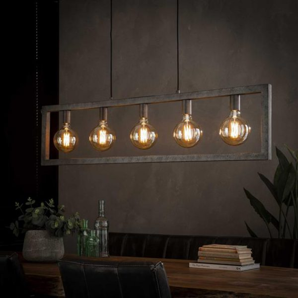 Hanglamp 5L steps / Oud zilver. 7784/29 uit de hanglampen collectie van Bullcraft kleinmeubelen & verlichting bij Löwik Meubelen