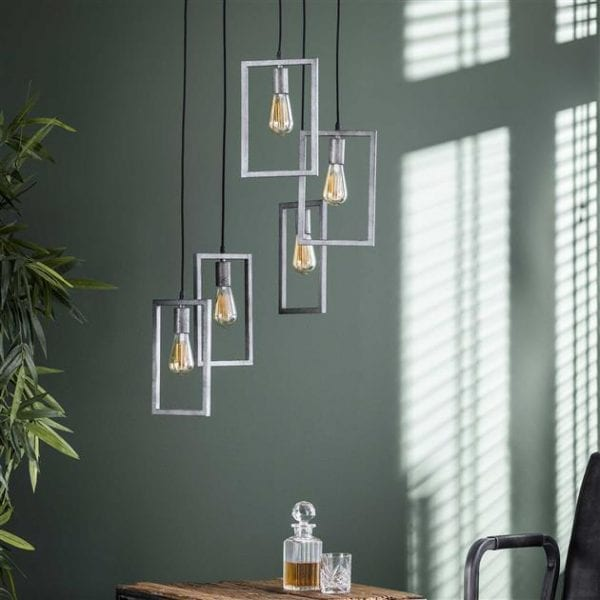 Hanglamp 5L framed getrapt / Oud zilver. 7712/29 uit de hanglampen collectie van Zijlstrakleinmeubelen & verlichting bij Löwik Meubelen
