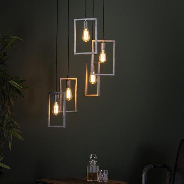 Hanglamp 5L framed getrapt / Oud zilver. 7712/29 uit de hanglampen collectie van Bullcraft kleinmeubelen & verlichting bij Löwik Meubelen