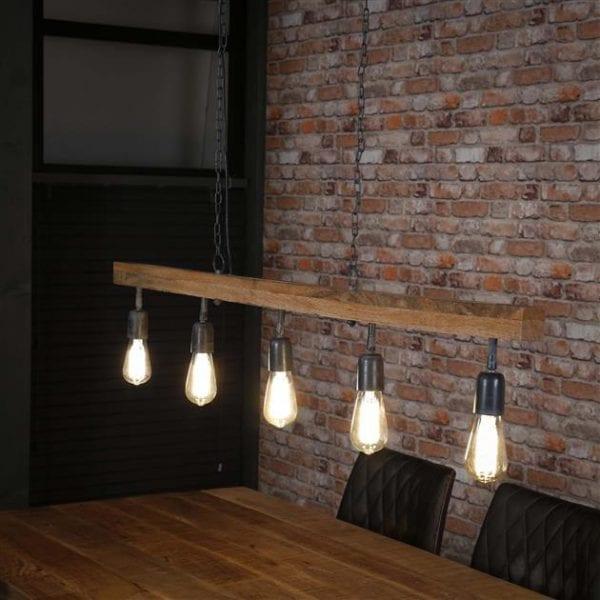 Hanglamp 5L houten balk / Massief mango naturel. 8268/16 uit de hanglampen collectie van Zijlstrakleinmeubelen & verlichting bij Löwik Meubelen