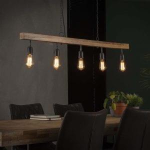 Hanglamp 5L houten balk / Massief mango naturel. 8268/16 uit de hanglampen collectie van Bullcraft kleinmeubelen & verlichting bij Löwik Meubelen