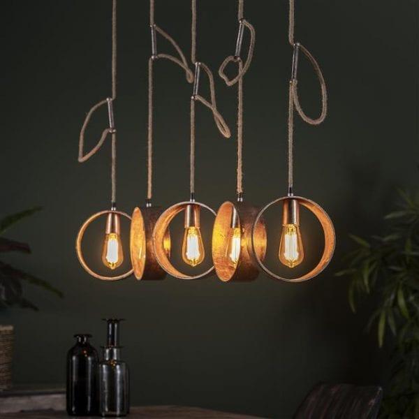 Hanglamp 5L loop/Antiek Nikkel. 7802/31A uit de hanglampen collectie van Bullcraft kleinmeubelen & verlichting bij Löwik Meubelen