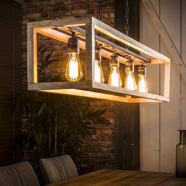 Hanglamp 5L rechthoek houten frame / Massief mango naturel. 8215/16 uit de hanglampen collectie van Zijlstrakleinmeubelen & verlichting bij Löwik Meubelen