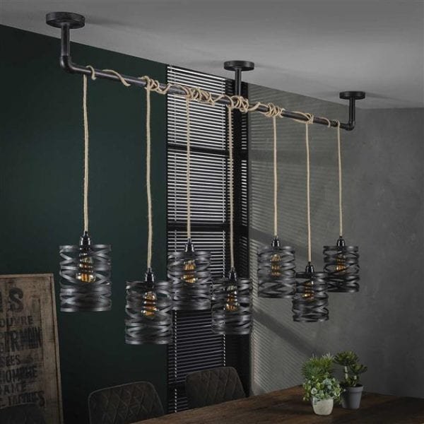Hanglamp 7L twist wikkel XL / Slate grey. 8288/45S uit de hanglampen collectie van Zijlstrakleinmeubelen & verlichting bij Löwik Meubelen