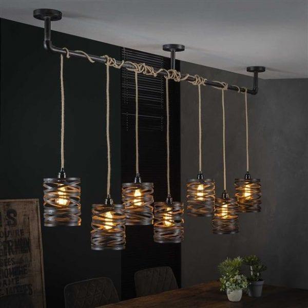 Hanglamp 7L twist wikkel XL / Slate grey. 8288/45S uit de hanglampen collectie van Bullcraft kleinmeubelen & verlichting bij Löwik Meubelen