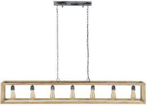 Hanglamp 7L rechthoek houten frame/Massief mango naturel. 8219/16 uit de hanglampen collectie van Zijlstrakleinmeubelen & verlichting bij Löwik Meubelen