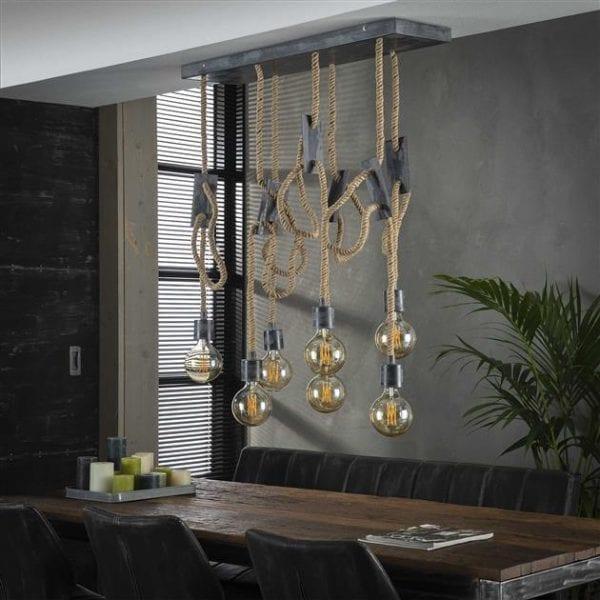Hanglamp 7L touw 3+4 / Grijs. 8277/48 uit de hanglampen collectie van Zijlstrakleinmeubelen & verlichting bij Löwik Meubelen