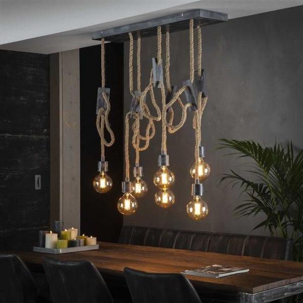 Hanglamp 7L touw 3+4 / Grijs. 8277/48 uit de hanglampen collectie van Bullcraft kleinmeubelen & verlichting bij Löwik Meubelen