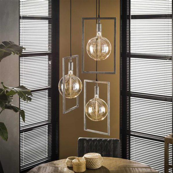 Hanglamp sky 3L getrapt / Oud zilver. 7734/29 uit de hanglampen collectie van Zijlstrakleinmeubelen & verlichting bij Löwik Meubelen