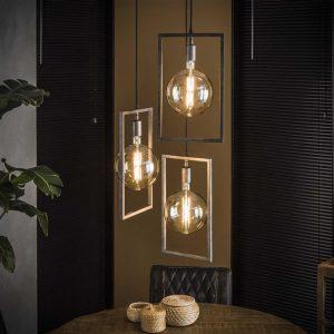 Hanglamp sky 3L getrapt / Oud zilver. 7734/29 uit de hanglampen collectie van Bullcraft kleinmeubelen & verlichting bij Löwik Meubelen