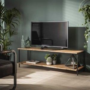 TV-meubel natural edge/Massief acacia naturel. 2362/15 uit de open tv-meubelen collectie van Bullcraft kleinmeubelen & verlichting bij Löwik Meubelen