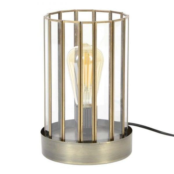 Tafellamp 1L artdeco cylinder / Brons antiek. 8339/30 uit de tafellampen collectie van Zijlstrakleinmeubelen & verlichting bij Löwik Meubelen
