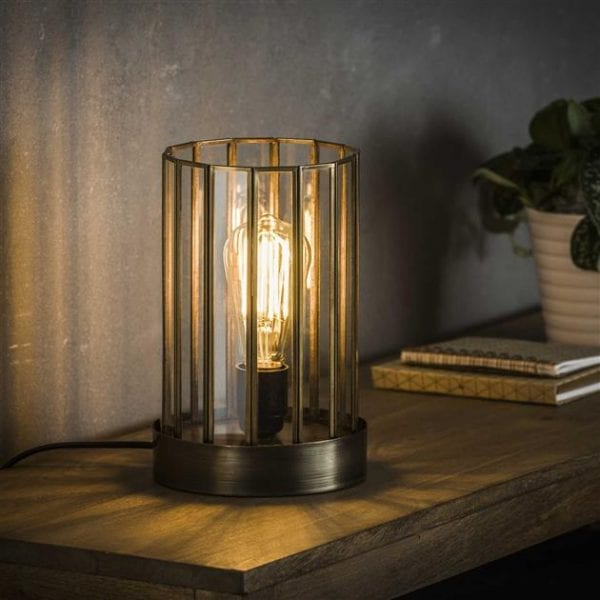 Tafellamp 1L artdeco cylinder / Brons antiek. 8339/30 uit de tafellampen collectie van Bullcraft kleinmeubelen & verlichting bij Löwik Meubelen