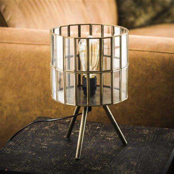 Tafellamp 1L artdeco tri-pod ronde kap / Brons antiek. 8338/30 uit de tafellampen collectie van Zijlstrakleinmeubelen & verlichting bij Löwik Meubelen