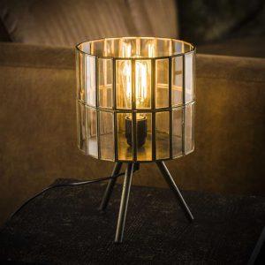 Tafellamp 1L artdeco tri-pod ronde kap / Brons antiek. 8338/30 uit de tafellampen collectie van Bullcraft kleinmeubelen & verlichting bij Löwik Meubelen