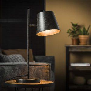 Tafellamp 1L verstelbare metalen kap / Charcoal. 7944/76 uit de tafellampen collectie van Bullcraft kleinmeubelen & verlichting bij Löwik Meubelen