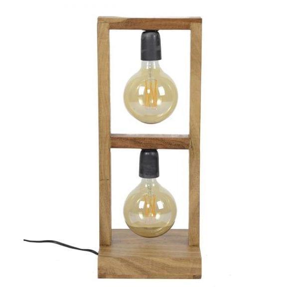 Tafellamp 2L modulo houten frame / Massief acacia naturel. 8253/15 uit de tafellampen collectie van Zijlstrakleinmeubelen & verlichting bij Löwik Meubelen