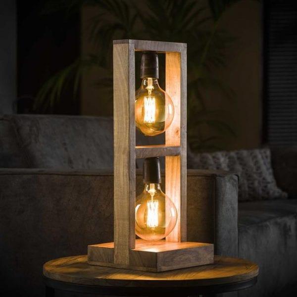 Tafellamp 2L modulo houten frame / Massief acacia naturel. 8253/15 uit de tafellampen collectie van Bullcraft kleinmeubelen & verlichting bij Löwik Meubelen