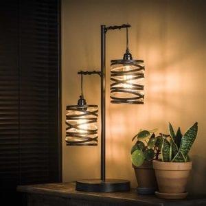 Tafellamp 2L spindle / Slate grey. 8291/45S uit de tafellampen collectie van Bullcraft kleinmeubelen & verlichting bij Löwik Meubelen