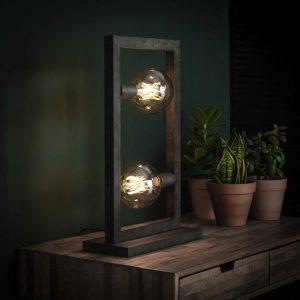 Tafellamp 2L steps / Oud zilver. 7780/29 uit de tafellampen collectie van Bullcraft kleinmeubelen & verlichting bij Löwik Meubelen