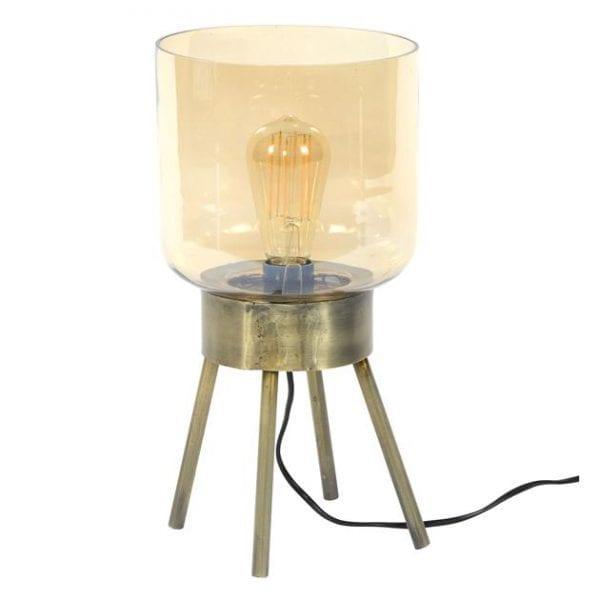 Tafellamp 4-poot amber glas / Brons antiek / Brons antiek. 8353/30 uit de tafellampen collectie van Zijlstrakleinmeubelen & verlichting bij Löwik Meubelen